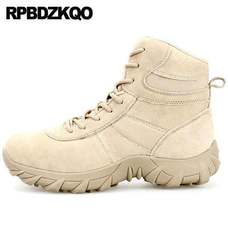 Plus Size Combat Genuine Leather Lace Up High Sole Shoes Men Suede Ankle Boots Tactical Thick Soled Desert Military Booties Army combat boots desert tan lug sole military boots page 4