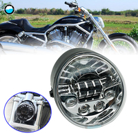 Accessories For Harley V ROD Motorcycle LED HEADLIGHT Aluminum Black Headlight For Harley V Rod VROD VRSCA Headlight VRSC .
