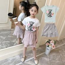 Fashion 2pcs Kids Girls Clothes Set Black Floral Top + Asymmetric Ruffle Pencil Skirt Child Flower Girl Clothing Set 5 6 8 10 12 asymmetric ruffle trim ditsy skirt