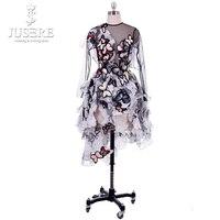 Открытое платье черный тюль одежда с длинным рукавом бабочка Иллюзия лиф работа Дизайн Асимметричная юбка платье для выпускного вечера 2018