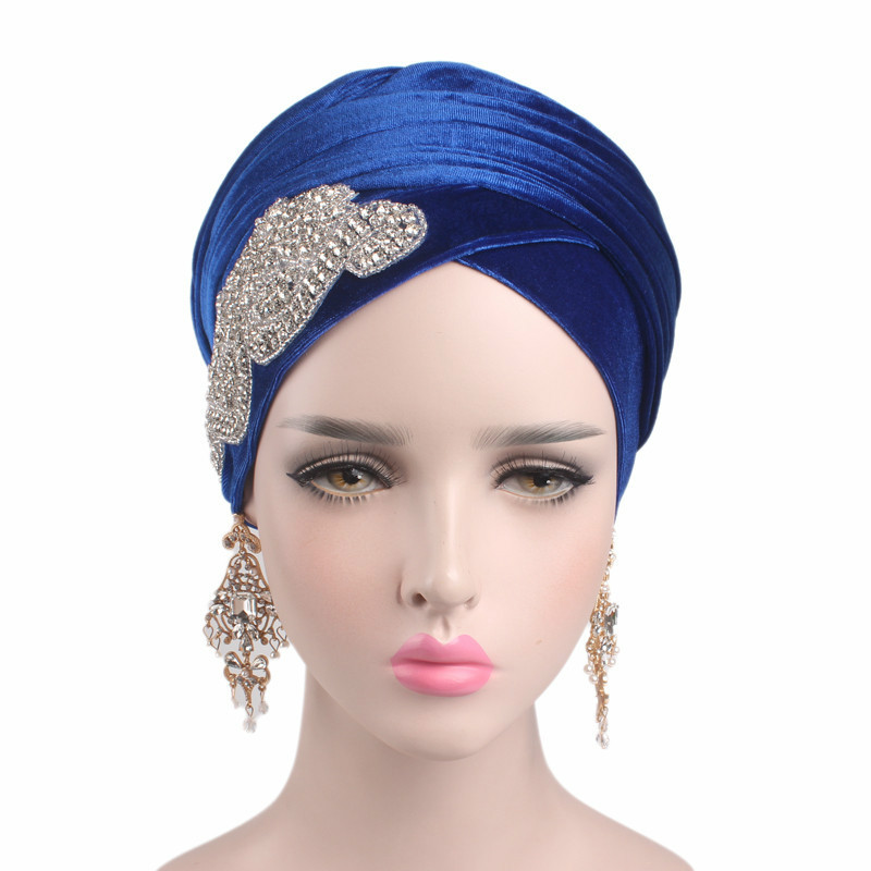 New Diamonds Long Velvet Scarf Turban Head Wrap Nigerian Turban Stylish Head Scarf Women Muslim Hijab Hats Ladies Turban
