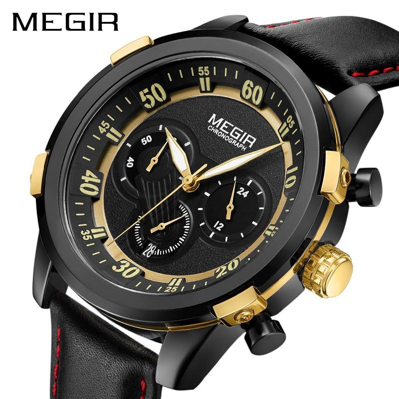 MEGIR Chronograph Men Sport Watch Relogio Masculino Fashion Army Military Quartz Wrist Watches Clock Men Male Wristwatch 2067 цена и фото
