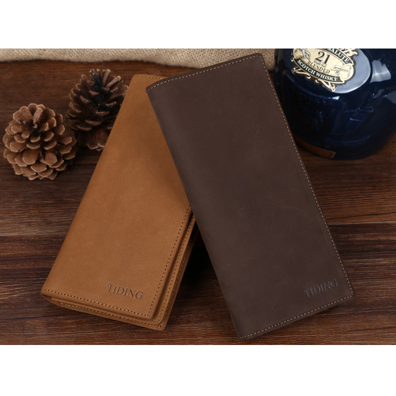 ФОТО TIDING Nubuck Real Leather Purse Clutch for Men with Credit Card Passport Holder Long Travel Wallet 4089