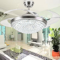 36/42inch 92/108cm 4color dimming contrK9 Crystal Ceiling Fan Modern/Contemporary Living Room Remote Control Led Fan Lights Bedr