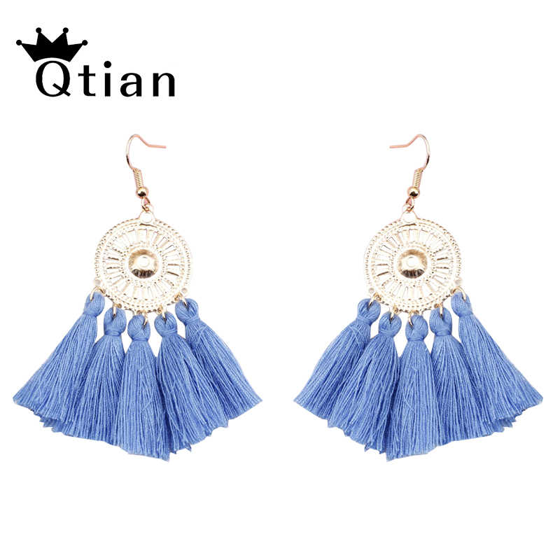 Qtian Bohemian Handmade Cotton Tassel Earrings for Women Long Big Ethnic Fringed Drop Earrings Hanging Dangling Women's Jewelry