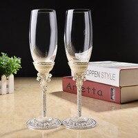 New Design Creative Gift Art Craft Wedding Glasses Champagne Red Wine Bride Groom Crystal Enamel Cup