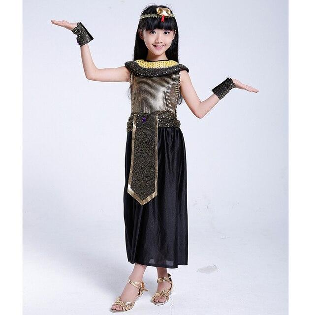 082461e81 Egito Cleópatra Cosplay Trajes Meninas 2017 Nova Fantasia Vestido de Festa  Bonito Exótico Bonito Crianças Vestido