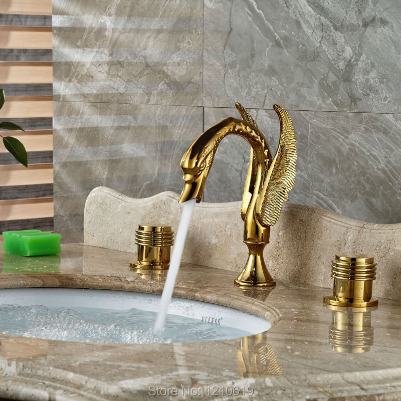 Uythner Newly Luxury 3Pcs Bathroom Sink Faucet Set Golden Polished Swan Basin Mixer Faucet Cold&Hot Water Tap ouboni 3pcs set bathtub luxury golden plated bathroom faucet european split basin mixer tap ceramic faucet body cross handles