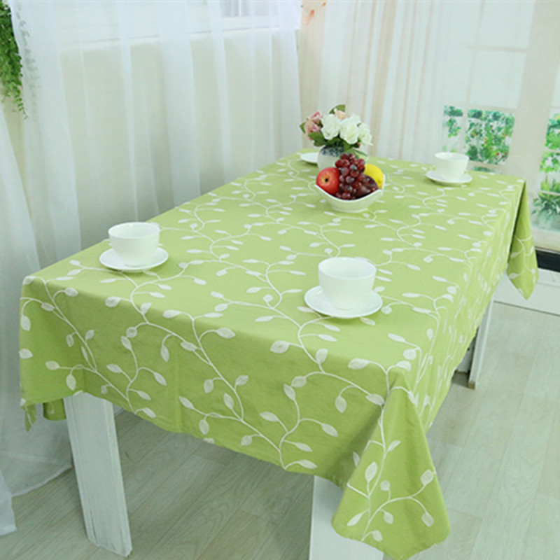 Embroidered leaf Table Cloth Cotton&Polyester Green Tablecloth Table Cover For Wedding Hotel Party Square Pastoral Home Textile-in Tablecloths from Home & Garden on AliExpress