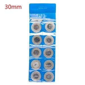Image 5 - 10 teile/satz 22/30mm Mini Diamant Sägeblatt Silber Trennscheiben mit 2X Anschluss Schaft für Dremel Bohrer fit Dreh Werkzeug
