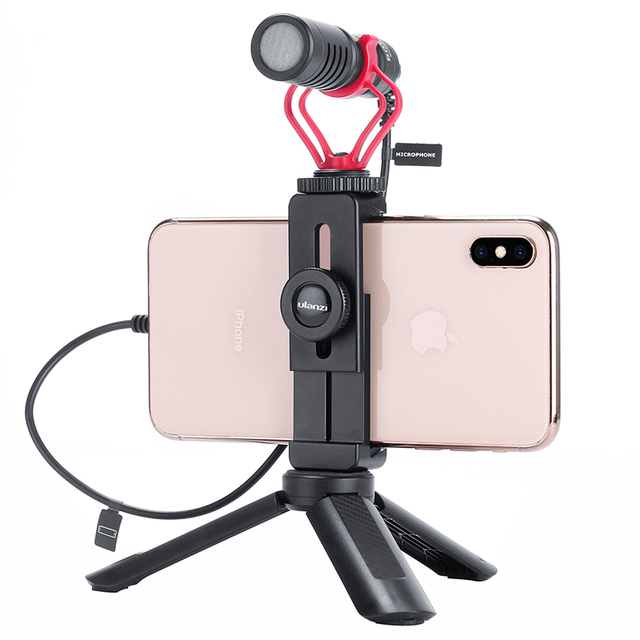 Ulanzi ST-02L Quick Release Phone Tripod Mount With Cold Shoe Metal Cell Phone Bracket Holder Clip Clamp for Smart Phones