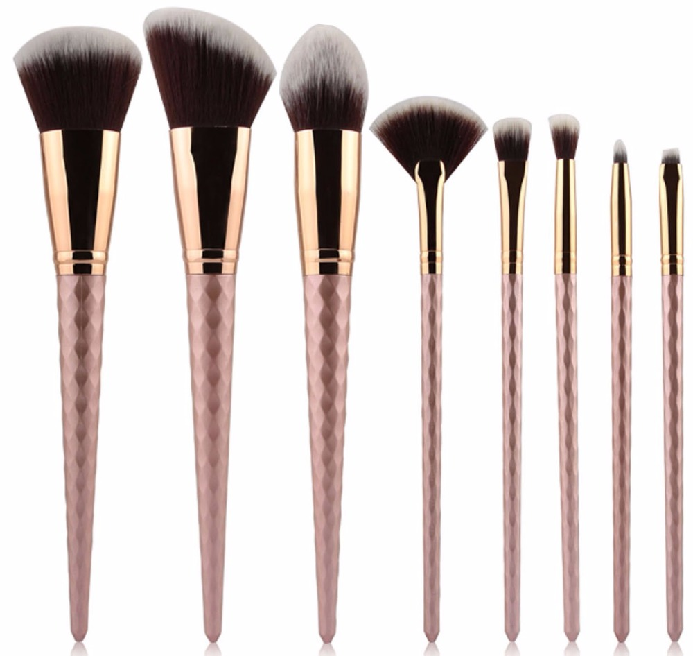 Rose Gold 8 PCS Unicorn Brush Makeup Brush Set Nylon Hair Eyebrow Eyeshadow Powder brush Rose Golden Portable brushes