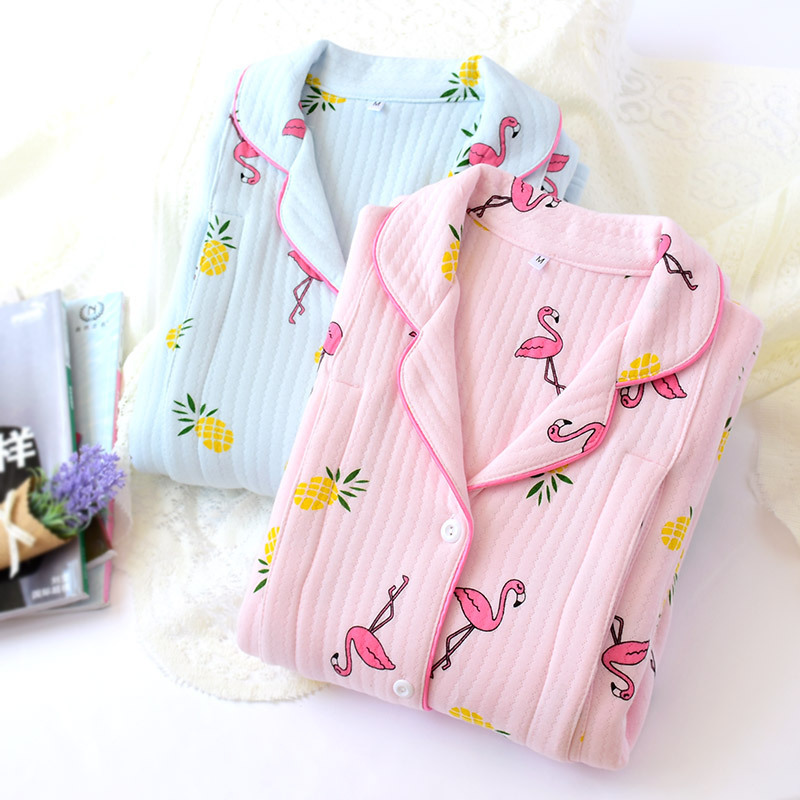 Autumn Thick Long Sleeve Pajama Tops Winter Maternity nightwear Nursing Clothes Breastfeeding Clothes Pregnancy Sleepwear cotton fashion cotton padded maternity shirts autumn winter fashion thick knitted long sleeve pregnancy tops loose maternity clothes