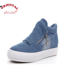 height increasing canvas shoes for woman 2016 spring breathable denim hiden wedge fashion casual shoes Turnschuhe zapatillas