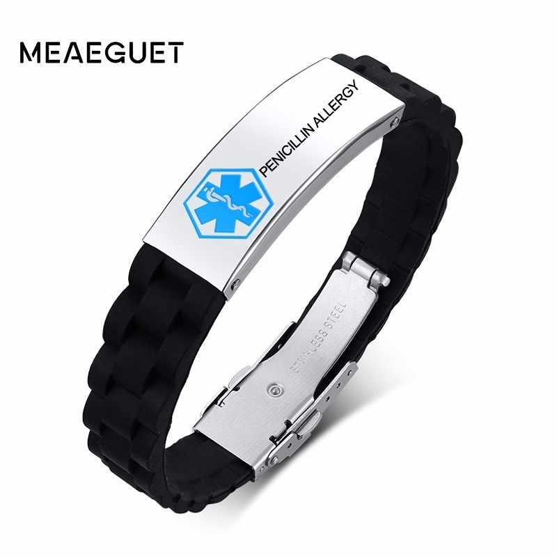 Custom Silicone Medical Alert ID Bracelet Stainless Steel Engraving For Men Women Children Adjustable Length DIY