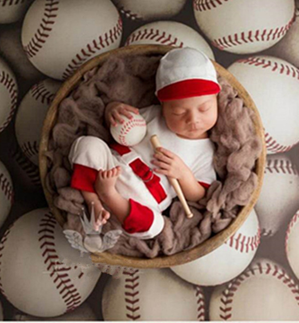 f235f2d4c New baseball uniform hats set photoshoot romper photo accessories baby boy  girl costume wrap newborn photography