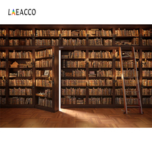Laeacco Library Old Wooden Bookshelf Books Ladder Child Study Portrait Photography Background Photographic Backdrop Photo Studio