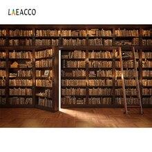 Laeacco مكتبة القديم رف خشبي الكتب سلم الطفل دراسة صورة التصوير خلفية التصوير خلفية استوديو الصور