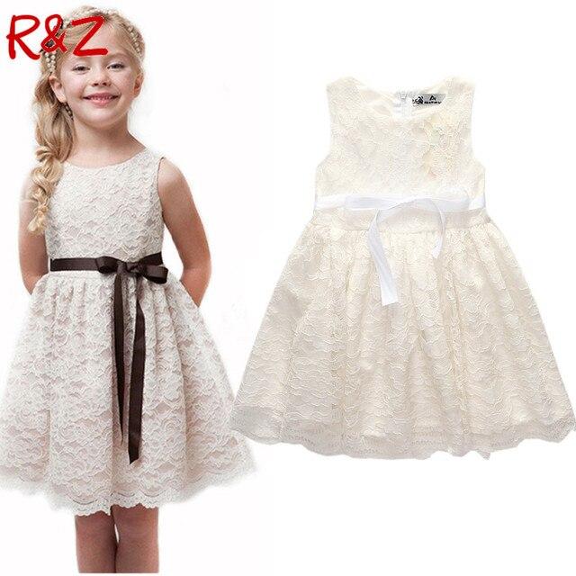 R & Z 2018 Verão Novo Estilo de roupas Infantis meninas bonito Vestido de Renda Meninas Do Bebê Qualidade Adolescente Vestido De Crianças Vestido para a idade 3-10