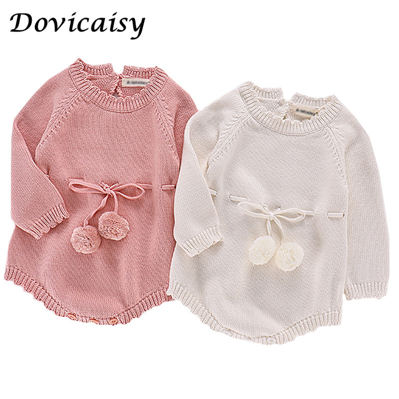 Newborn Baby Girls Winter Warm Wool Knitting Ruffles Romper Long Sleeve Clothes