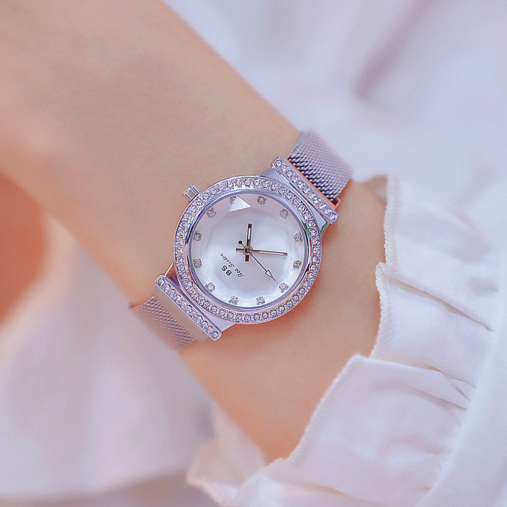 Luxury Brand Women 39 s blingbling Watches Lady 39 s Rhinestone Watch Female Steel Magnet Clasp Quartz Wristwatch Relogio Gold Color in Women 39 s Watches from Watches