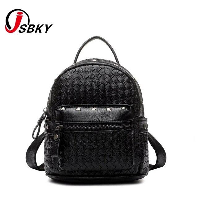 7f2be28dbb JSBKY Brand Mini School Designer Backpack Girl Korean Style Rivet Backpack  Women Leather Black School Backpacks For Girls