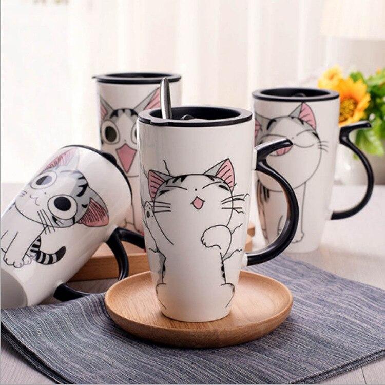 Cute Cat Ceramica Tazza di Caffè Con Coperchio Grande Capacità di 600 ml Animale Tazze creativo Articoli e Attrezzature per Acqua, Caffè, Tè Caffè Tazze di Tè Regali Della Novità tazza di latte