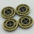 (100pcs/pack) Customized bronze jacket garment metal buttons with brand name and logo, 4-holes electroplating, Nickel-Free