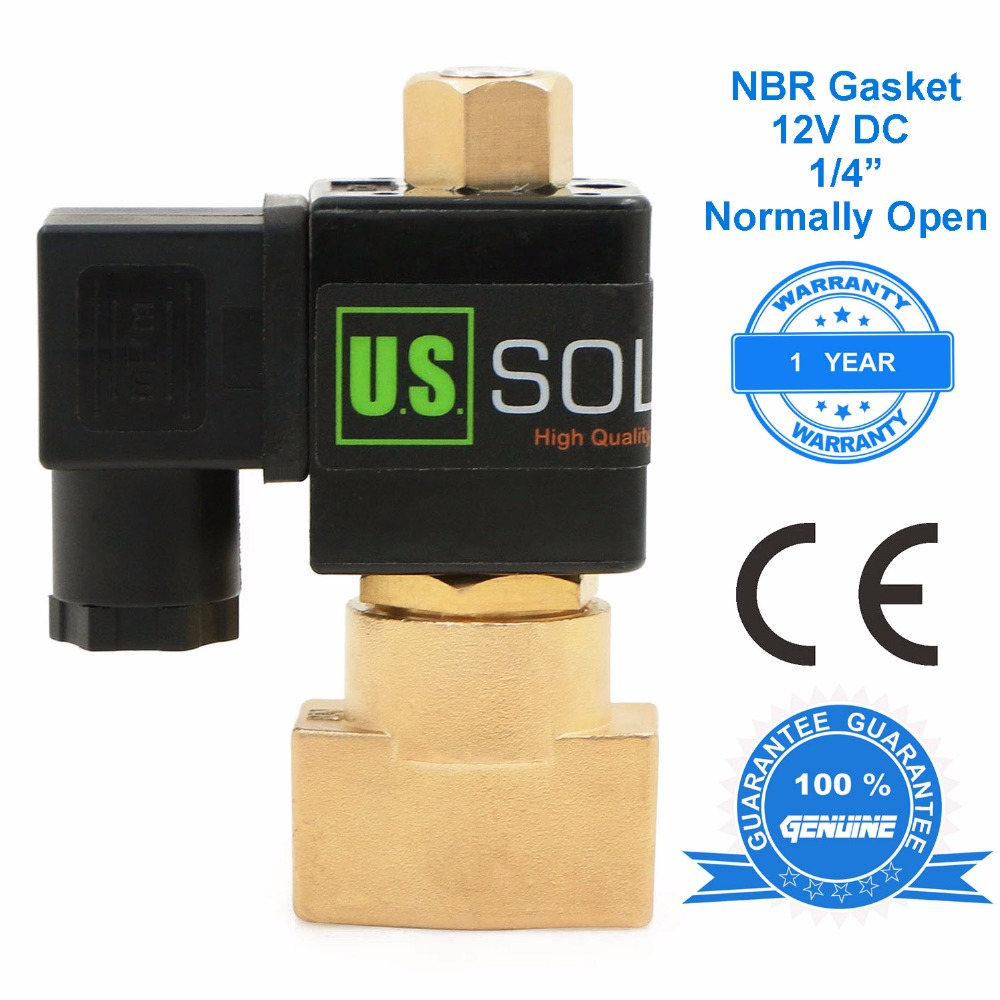 U.S. Solid 1/4 Brass Electric Solenoid Valve 12 V DC, Normally Open Air Water NBR CE ISO Certificated