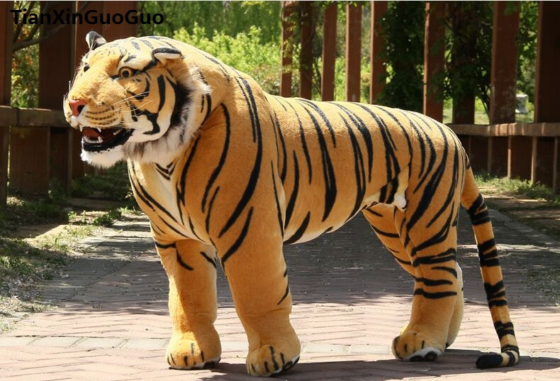 Artificial tiger huge 110x75cm yellow tiger plush toy can be rided, creative birthday gift , party docreation gift d2557 simulation animal huge leopard plush toy 110x70cm high quality can be rided birthday gift christmas gift w0442