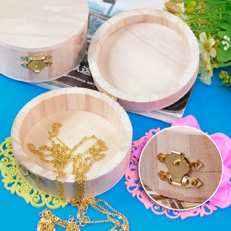 Natural Wood Crafts Jewelry Storage Box Vinage Mud Base Case Art Decor Kids DIY Toys