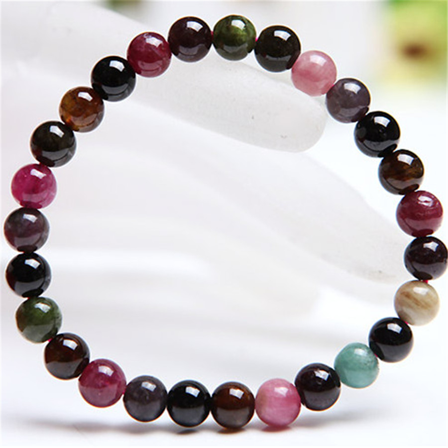 Fashion Jewelry Stretch Bracelet Women 6.5mm Genuine Natural Tourmaline Gems Stone Crystal Quartz Charm Bracelet Femme 8mm genuine natural purple sugilite crystal beads women lady fashion gems stone jewelry stretch bracelet