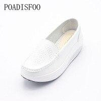 Poadisfoo حقيقي جلد النساء أزياء sneakers الأحذية سوينغ منصة أسافين الأحذية المتسكعون الأحذية الجلدية هزاز. SPP-8102