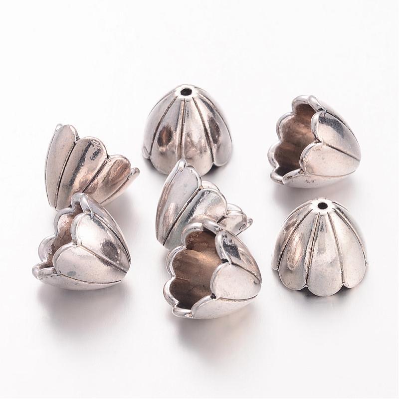 500 pièces Couleur Argent Antique En Alliage Chapeaux De Perle pour des Résultats De Bijoux, sans Plomb, sans Nickel et Sans Cadmium, environ 15x17mm, trou: 2mm