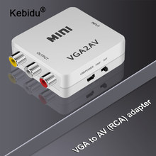 Kebidu 1080P Mini VGA RCA AV kompozit adaptörü dönüştürücü ile 3.5mm ses VGA2AV / CVBS + ses PC HDTV monitör dönüştürücü