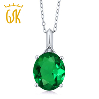 4 02 Ct Oval Green Simulated Emerald White Topaz 925 Sterling Silver Pendant