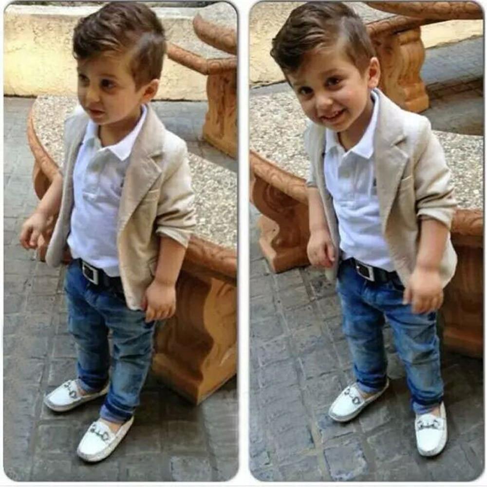 2015 Toddler Boys Clothing Set Casual Children Boy Gentleman Suit Jacket+T-shirt+<font><b>Denim</b></font> Jean Pants 3pcs Clothing Sets CL0702