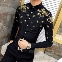 Mężczyźni Ubierają Koszulkę z Złota Druku Czarno Biała Koszula Z Długim Rękawem Fashion Designer Fantazyjne Koszule Mężczyźni Floral Koszulka Suknia Ślubna