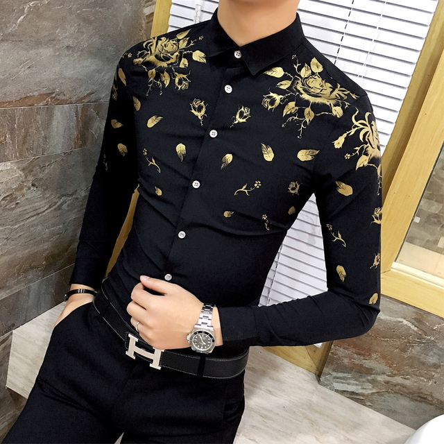 c3cc2fc3b6f9 Men Dress Shirt with Gold Print Black White Long Sleeve Fashion Designer  Shirt Fancy Shirts Men Floral Shirt Wedding Dress