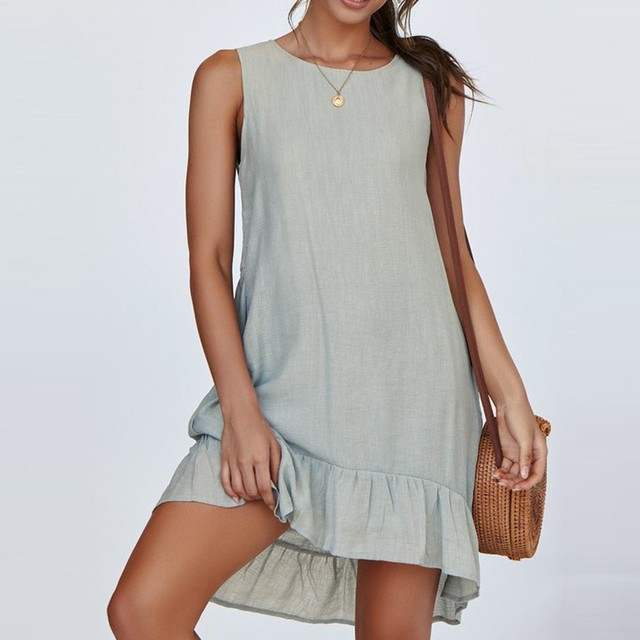 Sexy Womens summer dress Fashion O-Neck Ladies Solid Color Buttons Casual Mini Dress summer Womens  Loose Dress 2019 NEW