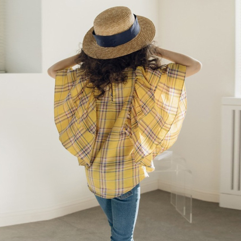 Girls Summer Shirts Yellow Plaid Horn Sleeve Cotton Tops 8 10 12 14 15 years Teenage Girls Summer Outfits
