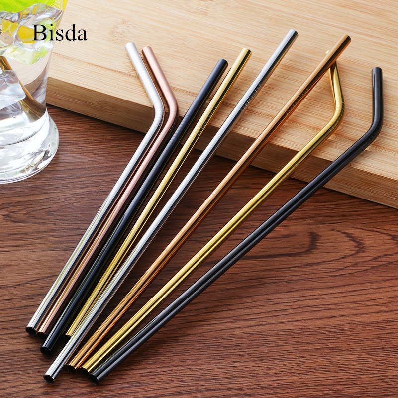 4pcs/lot Stainless Steel Drinking Straws +1 Brush Reusable Bent Stainless Filter Straw Metal Drink Yerba Mate Tea Bar Accessorie