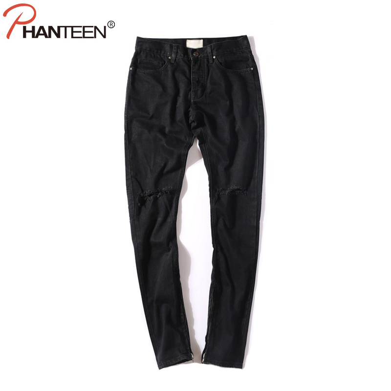 Kanye Justin Bieber Men Black Jeans Knee Ripped Hole Side Zipper Casual Slim Fit Jeans High Quality Hiphop Fashion Men Clothing trumpeter 01006 1 35 maz 537 last production