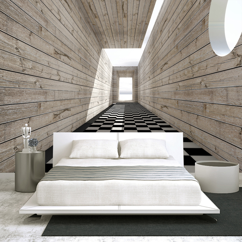 Custom Wall Mural Non-woven Fabric Wallpaper For Walls 3D Visual Space Wood Grain Background Wall Decorative Painting Wallpaper