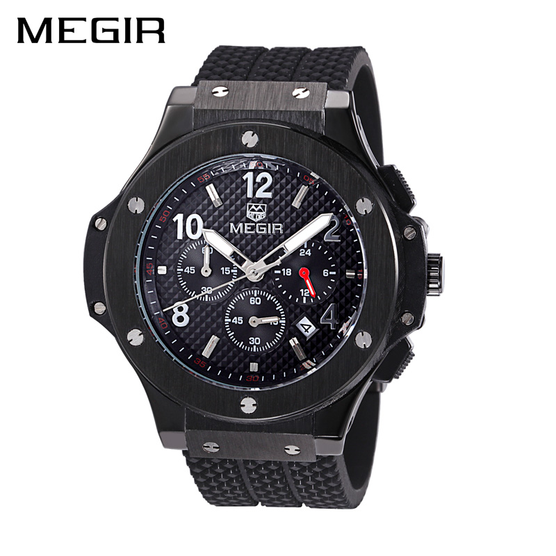 MEGIR Men Sport Watch Silicone Strap Chronograph Military Watches Clock Men Relogio Masculino Horloges Mannen with Gift Box orkina montres 2016 new clock men quarz watch uhr uhr cool horloges mannen gift box wrist watches for men