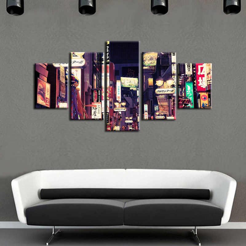 Wydruków płótnie Miasta scena nocy 5 Sztuka Modern Style Tanie Zdjęcia Dekoracyjnej Wall Art Oprawione Odbitki Prezent/City-116