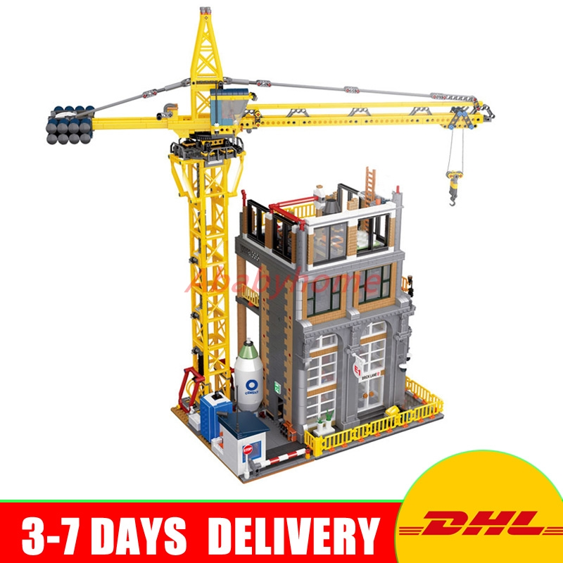 DHL LEPIN 15031 4425Pcs MOC Building Series The Construction with Crane Model Building Kits Blocks Bricks Toy a toy a dream lepin 15008 2462pcs city street creator green grocer model building kits blocks bricks compatible 10185