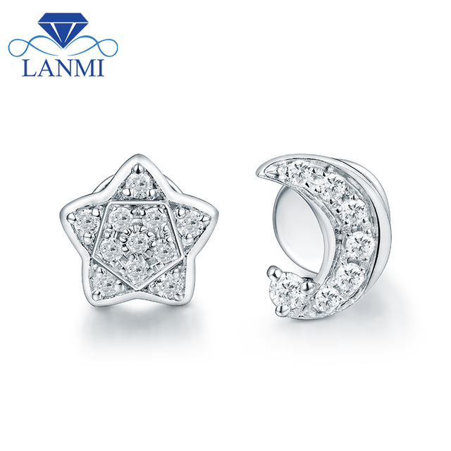 Fashion Star Moon SI Diamond Stud Earring Real 18K White Gold Lovely Design for Young Girl Anniversary Fine Jewelry Party Gift