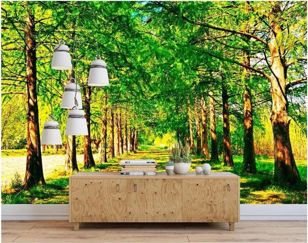3d wallpaper custom photo mural beautiful scenery tree lined path
