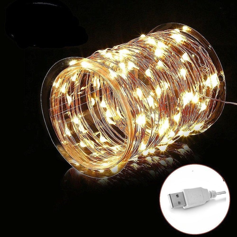 New Year USB 5V 1m 5m 10m 20m LED String lights Waterproof led Holiday lighting For Fairy Christmas Tree Wedding Party